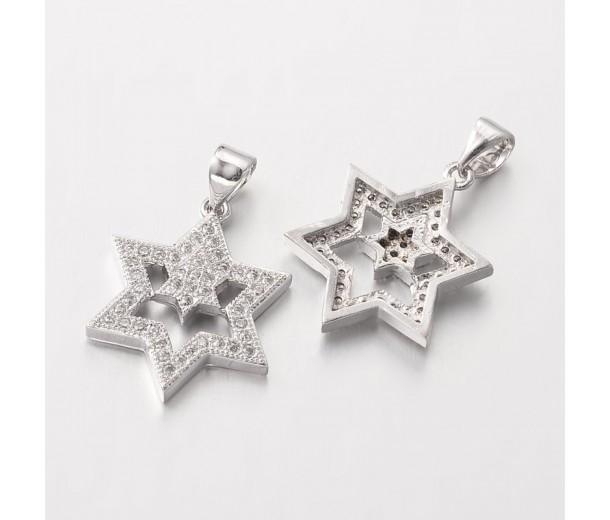20mm Star of David Cubic Zirconia Pendant, Platinum