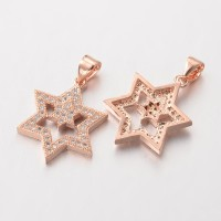 20mm Star of David Cubic Zirconia Pendant, Rose Gold Tone