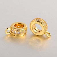 8x3mm Cubic Zirconia Flat Round Bail, Bright Gold Tone