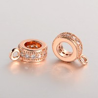 8x3mm Cubic Zirconia Flat Round Bail, Rose Gold Tone