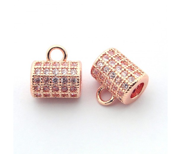 8x6mm Cubic Zirconia Column Bail, Rose Gold Tone