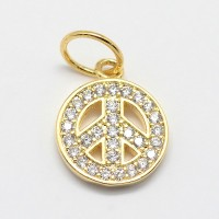 11mm Peace Sign Cubic Zirconia Charm, Gold Tone, 1 Piece