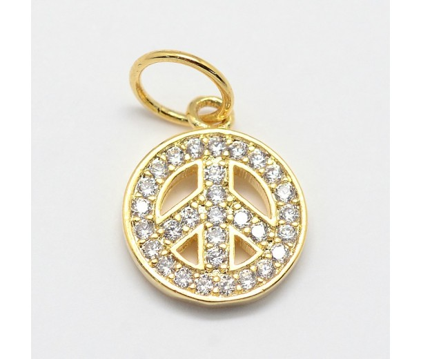 11mm Peace Sign Cubic Zirconia Charm, Gold Tone