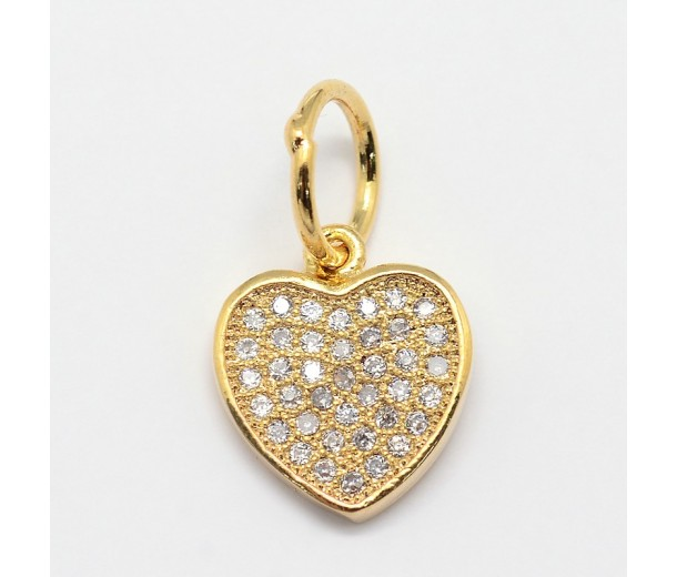 11mm Flat Heart Cubic Zirconia Charms, Gold Tone