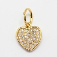 11mm Flat Heart Cubic Zirconia Charm, Gold Tone