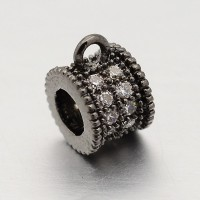 7mm Cubic Zirconia Bail Bead, Black