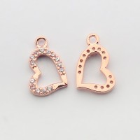 13x8mm Heart Cubic Zirconia Charm, Rose Gold Tone