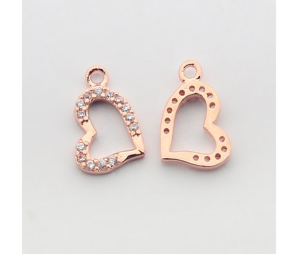 13x8mm Heart Cubic Zirconia Charm, Rose Gold Tone, 1 Piece