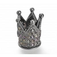 12mm Crown Cubic Zirconia Focal Bead, Black on Gunmetal