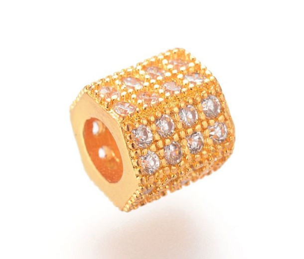 Micro Pave Cubic Zirconia Bead, Gold Tone, 7x8mm Hex Tube