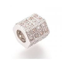Micro Pave Cubic Zirconia Bead, Rhodium Plated, 7x8mm Hex Tube