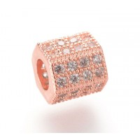 Micro Pave Cubic Zirconia Bead, Rose Gold Tone, 7x8mm Hex Tube