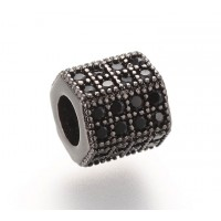 Micro Pave Cubic Zirconia Bead, Black on Gunmetal, 7x8mm Hex Tube