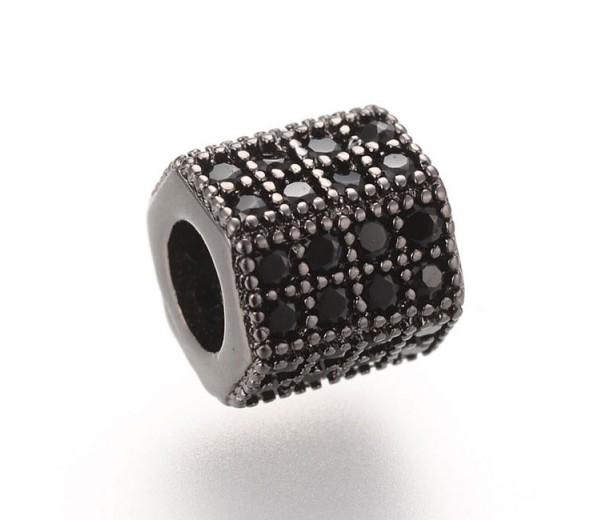 Micro Pave Cubic Zirconia Bead, Black on Gunmetal, 7x8mm Hex Tube