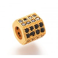 -Micro Pave Cubic Zirconia Bead, Black on Gold Tone, 7x8mm Hex Tube