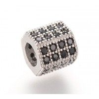 Micro Pave Cubic Zirconia Bead, Black on Rhodium, 7x8mm Hex Tube