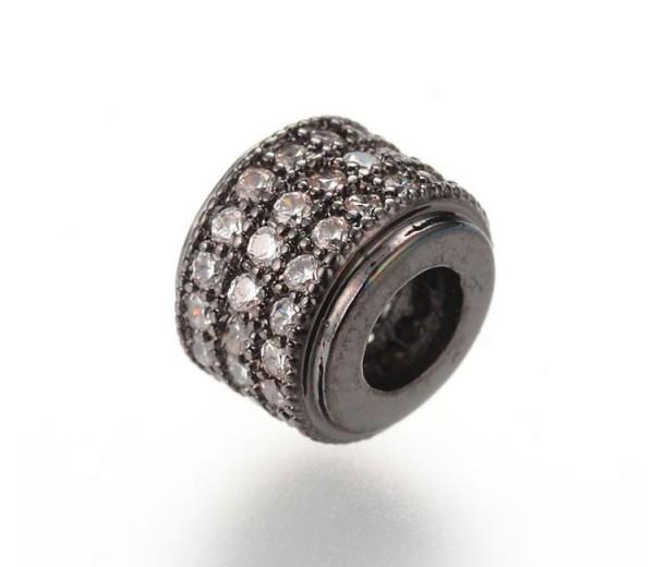 Micro Pave Cubic Zirconia Bead, Gunmetal, 9x7mm Rondelle
