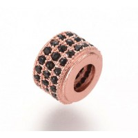 Micro Pave Cubic Zirconia Bead, Black on Rose Gold Tone, 9x7mm Rondelle