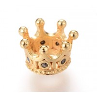 11x7mm Crown Rhinestone Large Hole Bead, Gold Tone