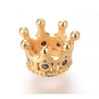 11x7mm Crown Rhinestone Large Hole Bead, Gold Tone