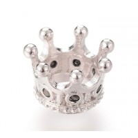 11x7mm Crown Rhinestone Large Hole Bead, Rhodium Plated